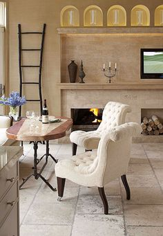 """Create a comfortable sitting area, which I call """"low breakfast."""" This area consists of a table approximately 27 inches high surrounded by comfortable, soft furniture-style seating rather than traditional dining chairs. Dining Nook, Dining Table Chairs, A Table, Kitchen Sitting Areas, Traditional Dining Chairs, Traditional Furniture, Fireplace Surrounds, Fireplace Wall, Furniture Styles"""