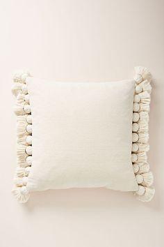 White Pillows by Anthropologie, Tasseled Chenille Nadia Pillow - My Organic Sleep - Boho Bedding Cute Pillows, Boho Pillows, Diy Pillows, Accent Pillows, White Throw Pillows, Pillows On Bed, Pillow Ideas, Blush Pillows, Colorful Throw Pillows