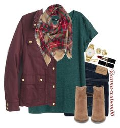 """Finally thanks giving break!!!"" by anna-watson00 ❤ liked on Polyvore featuring Abercrombie & Fitch, H&M, J.Crew, Steve Madden, Kate Spade and My Name Necklace"