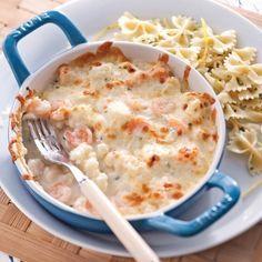Gratin de crevettes, pétoncles et chou-fleur -