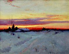 """""""Alaska Sunset"""" — art by Sydney Laurence Popular Paintings, Sunset Art, Art Database, Winter Landscape, Landscape Paintings, Landscapes, Art Day, Great Artists, Alaska"""