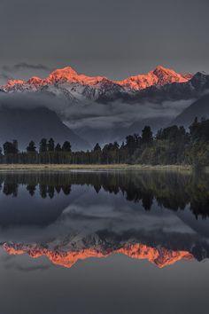 Beautiful Nature — sublim-ature: Sunset Reflection Of Lake Matheson...