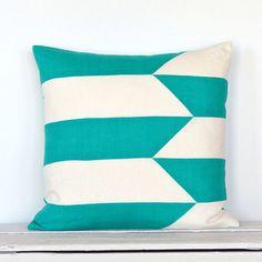 Graphic Broken Stripe Colorblock Pillow Cover - Sea Turq/  Off White Combo on Etsy, $50.00