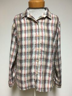 Woolrich Womens Button Down Shirt Large Plaid Fitted Pocket Red Black White