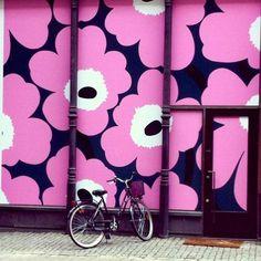 Marimekko's famous floral as wall art. Very cool.