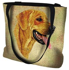 """Artwork by world renowned animal artist, Robert May. 17"""" width x 17"""" length 32"""" black straps. Jacquard woven cotton art tapestry. Not a print. Design is on both sides of the tote bag. Fully lined. Spo"""