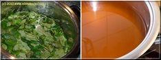 Listy necháme louhovat 24 hodin v převařené vodě... Seaweed Salad, Spinach, Vegetables, Ethnic Recipes, Blog, Syrup, Vegetable Recipes, Blogging, Veggies