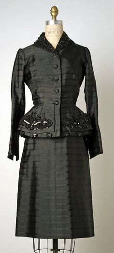 ~Suit Hattie Carnegie, Inc.  (American) Designer: Attributed to Mrs. Pauline Potter Date: fall/winter 1949–50 Culture: American Medium: silk~