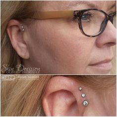 All of our jewelry comes with a lifetime guarantee and stays looking great forever! These pretty gems have been sparkling on this ear for four years now! Triple forward helix piercings on the sweet Michelle by @oliviatheriault. Jewelry by @neometaljewelry. #legitbodyjewelry