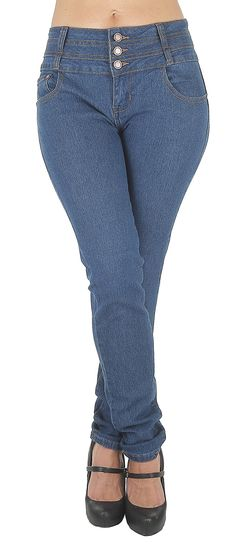 """N2065TM - Colombian Design, Butt Lift, Levanta Cola, Mid Waist Sexy Skinny Jeans in Blue Size 15. Butt lift Denim, 3 buttons on a wide waistband makes your tummy looks flatter,. Mid Waist Jeans, contrast stitching, functional front pockets, imitation back pockets. Fashion Jeans for Women, Like the Brazilian jeans and Colombian jeans styles designed for the """"levanta cola"""" effect, the additional stitching in the back rises over your rear and hugs your hips to create the butt lifting effect...."""