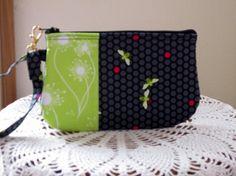 Wristlet Zipper Gadget Pouch Purse Flora And by Antiquebasketlady, $11.99