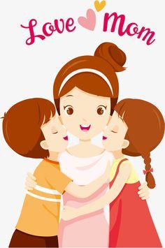 Hand,Meatball head,girl,kiss,Lovely,Braided hair,Smile,love,Vector diagram,mother vector,child vector