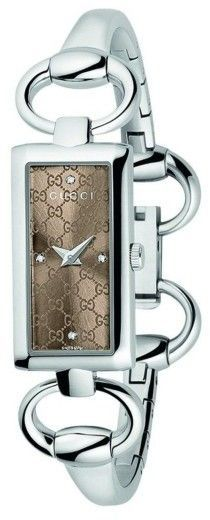 Gucci YA119508 Tornabouni Diamond Brown Dial Stainless Steel Womens Watch