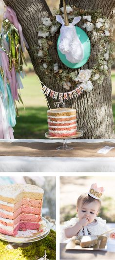 vegan gluten free ombre naked cake for a magical first birthday party! Baby Girl First Birthday, First Birthday Parties, 4th Birthday, First Birthdays, Birthday Ideas, Bow Tie Party, Vegan Birthday Cake, Love Design, Unicorn Party