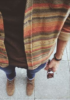Great cardigan. Buy a vintage patterned shit (Aztec, Navajo?) and cut the collar off it. Doesn't need to be a snug fit, but must be a very thick material to make it a worthwhile 'cardigan'.