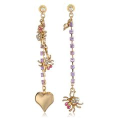 """Betsey Johnson """"Enchanted Forest"""" Spider and Heart Mismatch Drop... ($45) ❤ liked on Polyvore featuring jewelry, earrings, heart drop earrings, heart shaped jewelry, drop earrings, betsey johnson jewelry and betsey johnson earrings"""