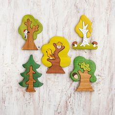 Woodland Tree set puzzle pcs) Nature table Tree figurines Forest small world Small World, Pet Toys, Kids Toys, Toddler Toys, Cardboard Box, Toy Trees, Wooden Tree, Non Toxic Paint, Nature Table