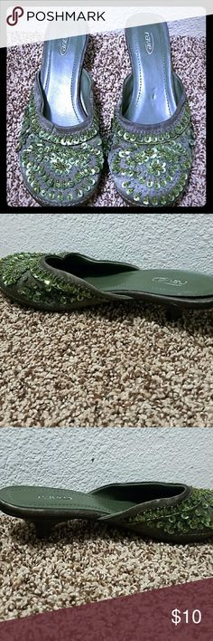 """Green sequin slip-on shoes Rave green slip on shoes with sequin details and a little heel (1""""). See photos for bending on right shoe due to storage placement. EUC Rave Shoes"""