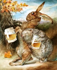 "Hase und Igel - Biertrinker - ""The Tipsy Two"" ~ Omar Rayyan Art And Illustration, Illustrations, Omar Rayyan, Rabbit Art, Bunny Art, Art Graphique, Whimsical Art, Fantasy Art, Fairy Tales"