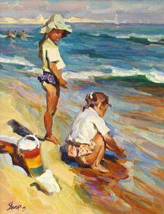 Children on the Beach by Michael Shapovalenko ~ summer