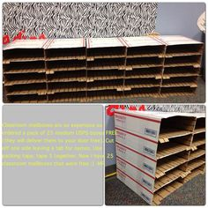 Classroom mailboxes are so expensive so I ordered a pack of 25 medium USPS boxes (they will deliver them to your door). Cut off one side leaving a tab for names. Use packing tape to tape 5 together. ALL FREE!! Great price for teachers!!!--MissyFreeman
