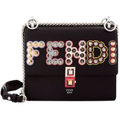 Fendi Small Kan I Embellished Leather Bag ($2,390) ❤ liked on Polyvore featuring bags, handbags, shoulder bags, genuine leather purse, genuine leather shoulder bag, purple leather purse, leather purses and studded leather purse