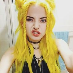 wearing Did your beautiful face make … – yellow hair Yellow Hair, Hair Color Blue, Cool Hair Color, Blue Hair, Pastel Yellow, Coloured Hair, Dye My Hair, Scene Hair, Crazy Hair