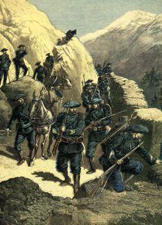 """Les chasseurs alpins en couverture du Petit journal du 21 mars 1891. La légende de la gravure indique : """"Les plus petits coins, les moindres sentiers de ce secteur sont très familiers à tous nos petits chasseurs alpins, et les populations de la vallée du Rhône peuvent dormir tranquilles sous l'oeil vigilant de tous ces braves gens."""""""