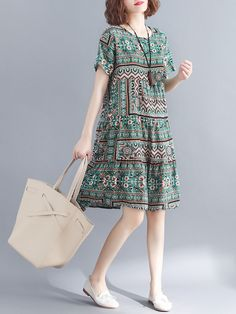 Women loose fit dress ethnic tribal flower skirt short sleeve large size casual … ~ THE PİN Casual Summer Dresses, Casual Skirts, Trendy Dresses, Women's Dresses, Short Skirts, Fashion Dresses, Short Sleeve Dresses, Dress Casual, Dress Summer