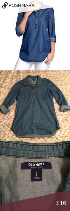 Old Navy Chambray Tunic Pullover Old Navy Chambray Tunic Pullover! Size small! So cute! Goes with EVERYTHING! My favorite way to wear is with black leggings and a tan sweater and maybe some boots! Old Navy Tops Tunics