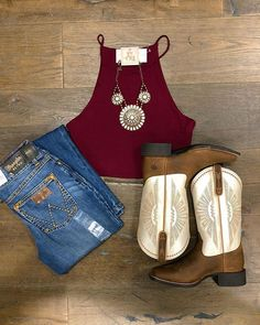 Ale_accessories® Shop This Look in Store Cute Cowgirl Outfits, Cowboy Boot Outfits, Country Style Outfits, Southern Outfits, Rodeo Outfits, Country Fashion, Western Outfits, Western Wear, Summer Country Outfits