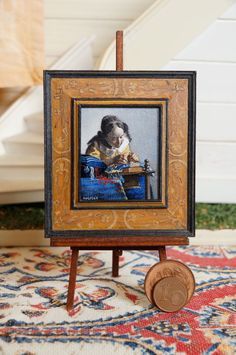 "Miniature reproduction. Vermeer "" The lacemaker"" acrylic on cardboard. This frame is also own handmade. size 43x37mm        74x58mm(frame included)"