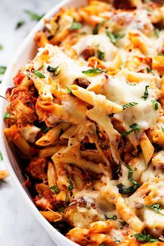 All of the goodness of chicken parmesan packed into a delicious cheesy casserole! Crispy chicken, marinarasauce, penne pasta, and cheese ...
