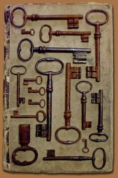 Beautifully framed vintage rusty keys, love this!
