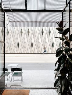 A simple view from the entrance of the cafe looking over to the contrasting textures of the delightful ethnography museum (MEG). Cafe Interiors, Geneva, Entrance, Museum, Texture, Simple, Home Decor, Cafes, Surface Finish