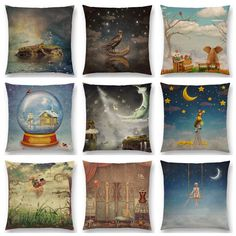 Hot Sale Mysterious Imagine Animals Forest Raven Fantasy Cloud Sky Moon Stars Earth Magical Dream Girl Cushion Sofa Throw Pillow #Affiliate