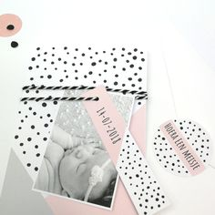 Geometrisch geboortekaartje Zo Mooi - lief - meisje - roze - lebl - babyfoto - baby - newborn - sluitsticker - DIY - zwanger - zwangerschap