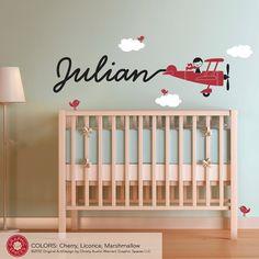 Airplane Nursery Wall Art Decal Skywriter Baby Nursery Kids