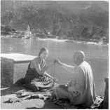 Swami Sivananda of Rishikesh initiating Swami Radha into mantra