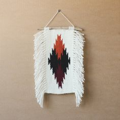 Hand Woven Navajo Weaving Wall Hanging with burnt by ALIFERA