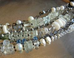 Multi Strand Rock Crystal, Green Amethyst, Pearl And Sterling Silver Bracelet. $78.00, via Etsy.