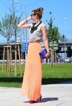 peach maxi skirt + blue clutch cute