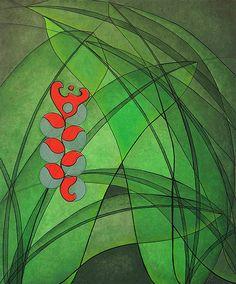Helicônia com folhas verdes e flores vermelhas, pintada de forma geométrica