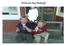 """Add thought bubbles to pictures to make """"What are they thinking?"""" story prompts."""