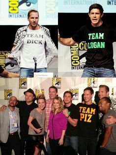 Veronica Mars panel at SDCC 2013--- love that Logan and Piz are wearing shirts supporting the other :)