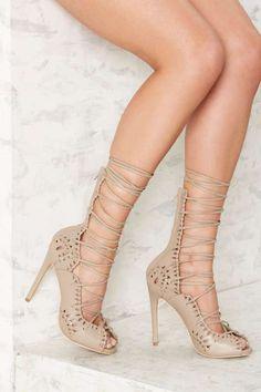 beb065cff42 Privileged Generation Wrap Lace-Up Heel Beige High Heels