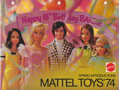 Mattel Toys 1974 - Oh, wow: Quick Curl Kelly and Sweet Sixteen (who came with a comb that had a scratch-&-sniff strawberry-scented handle). And is that Mod Hair Ken?