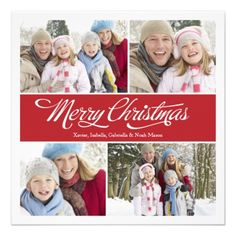 Red square collage holiday photo card