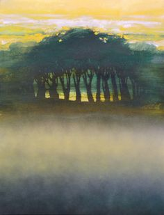 Oracle of trees and mist: Coppice 2009 by Mark Gould - Morning light begins calling Abstract Landscape, Landscape Paintings, Sunset Paintings, Abstract Art, Tree Of Life Painting, Original Art, Original Paintings, Tree Forest, Contemporary Paintings