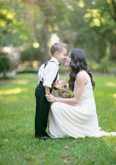 Bride and ring bearer. Mother and son.